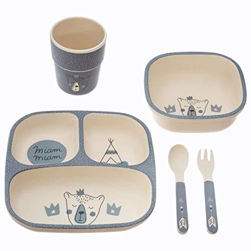 Atmosphera - Vaisselle Enfant Set Repas à Compartiments 5 Pièces Bleu