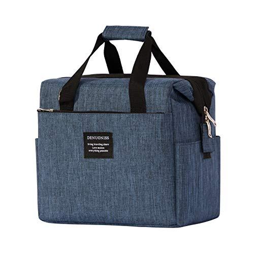 EBONY Bolsa de Aislamiento de Tela Oxford Bolsa de Almuerzo portátil Bolsa de Almuerzo para Llevar Bolsa de Hielo de Hombro 24 * 16 * 23 cm Azul