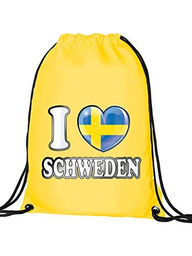 Schweden Sverige Sweden Fan Artikel 5009 Fuss Ball Turn Sport Beutel Unisex WM 2022 Flagge Fahne Kinder Kids Junge Mädchen Football World Cup Gelb