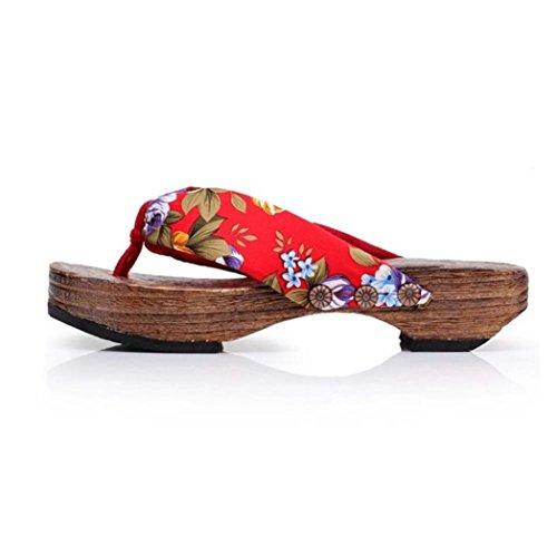 ZARLLE Sandalias Casuales Zapatos De Playa Sandalias Romanas Chanclas De Damas Plataforma De Verano Zapatos Mujer Zuecos De Madera Madera Chanclas Sandalias Zapatillas (39, Rojo)