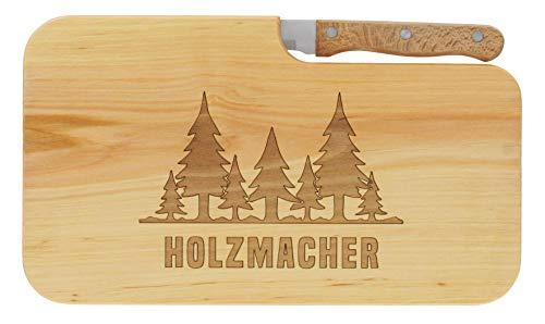 LASERHELD nachhaltiges Brotzeitbrett Schneidebrett Jausenbrett Holz Messer Geschenk Holzfäller Waldarbeiter Männer Geschenkidee für Ihn_Holzmacher