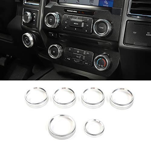 for F150 Air Conditioner Switch & Trailer & 4WD & VOL Knob Button Trim for Ford F150 XLT 2016 2017 2018 2019, Silver Aluminum, 6pcs