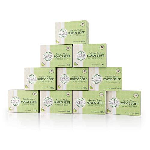 10er Pack, Kokos-Jojobaölseife - kaltgerührt, 5% Rückfettend