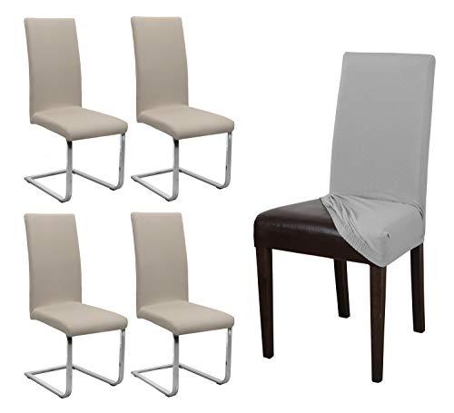 BEAUTEX 4er Set Jersey Stuhlhusse, elastische Stretch Husse Baumwolle Bi-Elastic, Farbe wählbar (Beige)