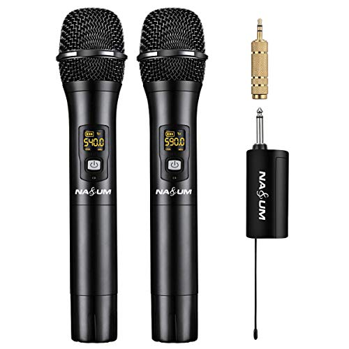 NASUM Wireless Karaoke Microphone, Professional UHF Dual Channel Metal Dynamic Cordless Microphone, Handheld Wireless Mic with Rechargeable Receiver, for Singing, Karaoke, Wedding, Church