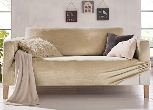 Biancheriaweb - Funda de sofá elástica, Efecto Terciopelo, Modelo Muy Suave, Color Beige