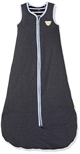Steiff Baby-Jungen mit Streifen und Teddybärmotiv Schlafsack, Blau (Black Iris 3032), One Size (Herstellergröße: 110)