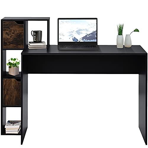 QWEPOI Mesa de ordenador, mesa de oficina, mesa de juegos, con 5 espacios de almacenamiento, estantes abiertos para almacenamiento, color negro, para salón, dormitorio y oficina, 120 x 50 x 100 cm