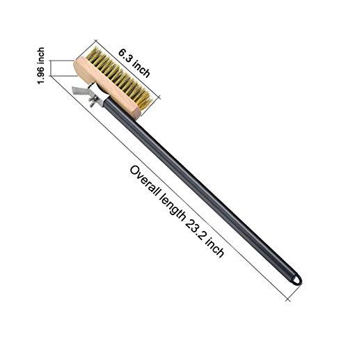 Cepillo profesional de cobre para horno de pizza, cepillo de limpieza de latón con mango de aluminio de 21 pulgadas (color : cepillo de cerdas de latón)