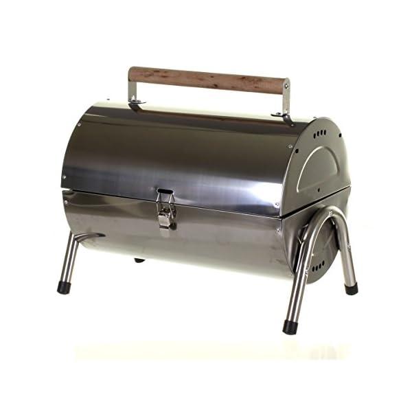 Marko Silver Portable Barrel BBQ Barbecue Steel Table Top Outdoor Garden Camping Picnic 3