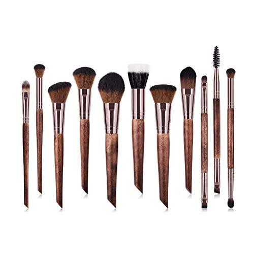 Eyeshadow Brushes Outils de maquillage professionnel haut de gamme, pinceau à maquillage en poudre, pinceau à paupières à double tête, pinceau à cils, manche en bois brun (11 pièces)