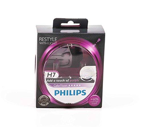 Philips Scheinwerferlampe-H7 ColorVision für farbigen Glanz im Scheinwerfer, PX26D, 12V/55W, lieferbar in Verschiedenen Farben (Pink)