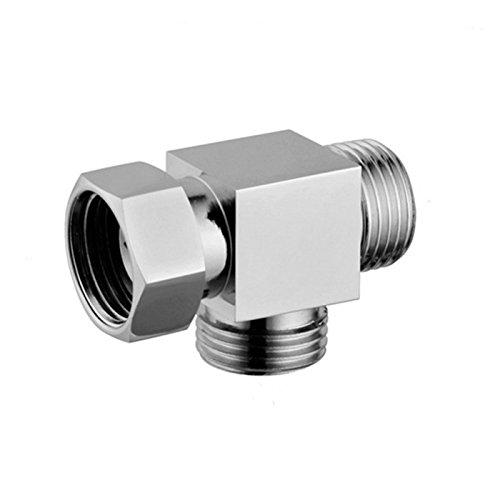 "1/2"" Brass Chrome 3 Way Diverter, Hose Fitting Tee, T Shape Adapter Connector for Angle Valve Hose, Bath Shower Arm, Toilet Bidet Sprayer Faucet"