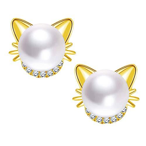 Unendlich U Ohrstecker 925 Sterling Silber Katze Perlen Ohrringe Perlenohrringe mit Zirkonia 6.5mm Süßwasser Zuchtperlen Geschenk zum Muttertag