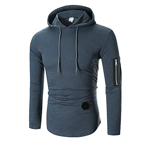 KPILP Mode Herren Herbst Winter Beiläufig Oberteile Langarm-Shirt Reißverschluss T-Shirt Solide Mit Kapuze Bluse Outwear Oberteile Sweatshirt(Grau, L