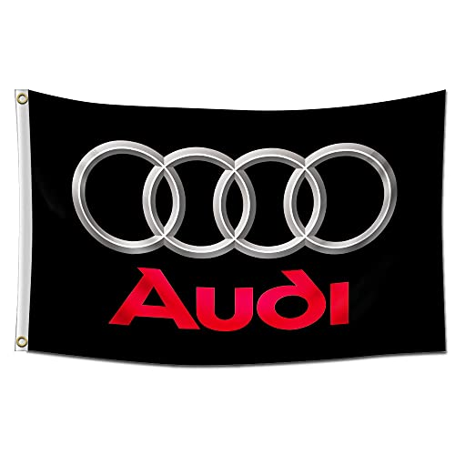 Flagge für Audi-Logo, Auto-Fans (6 x 2,4 m), lebendige Farben und UV-beständig, Banner, ideal für Studentenwohnheim, Zimmer, Männerhöhle, Garage, neues Banner mit Messingösen