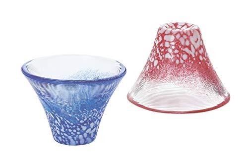 東洋佐々木ガラス冷酒グラスペア招福杯富士山冷酒杯揃え日本製青&赤35ml2点入りG635-T72