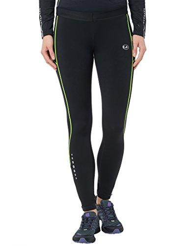 Ultrasport Damen Laufhose Gefüttert mit Kompressionswirkung und Quick-Dry-Funktion Lang, Schwarz/Neon Gelb, S