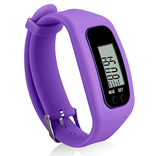 Bomxy Fitness Tracker Watch ,Simply Operation Walking Running Pedometer with Calorie Burning and Steps Counting Easy use Step Tracker (PURPLE-KK37)