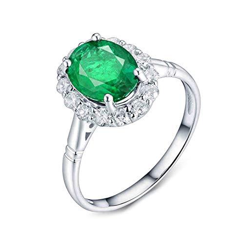 AnazoZ Esmeralda Anillo Mujer,Anillos Oro Blanco 18 Kilates Plata Verde Oval Esmeralda Verde 1.72ct Diamante 0.49ct Talla 21