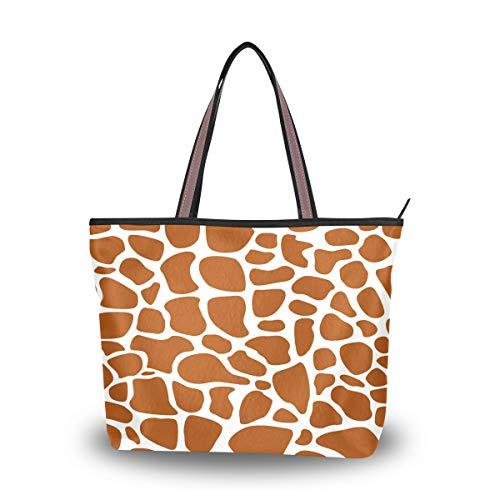 BIGJOKE - Bolso de mano de piel de jirafa africana para mujer, color Multicolor, talla Large