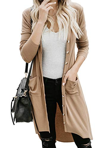 GOSOPIN Women Pocketed Button Down Long Knit Ribbed Cardigans Outwear Small Khaki