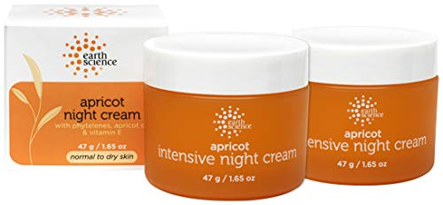 EARTH SCIENCE - Apricot Night Cream with Hydrating Apricot and Vitamin E for Dry Skin (2pk, 1.65 oz) Almond Intensive Facial Cream
