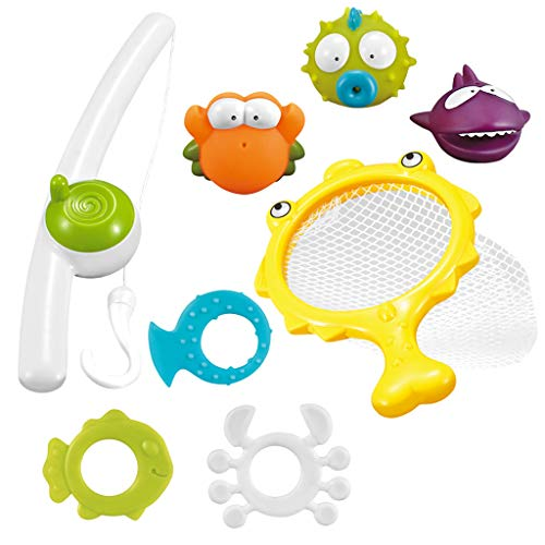 Toy 8Pcs Enfants Jouet De Pêche, Bain Jouets pour Enfants en Bas Âge, Bain Flottant en Caoutchouc Souple Eau Baignoire Squirts, Casse-Tête Jeu De Pêche, Parent-Enfant Jouet