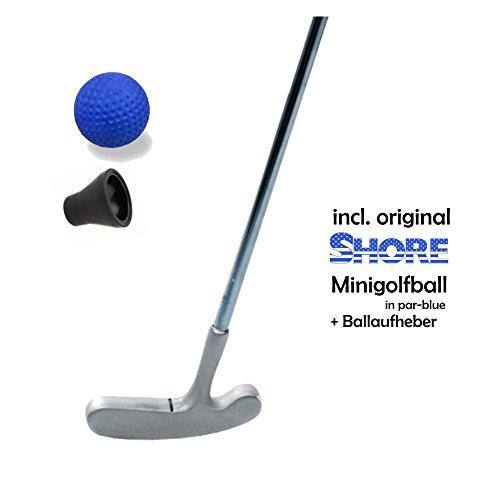 Golfas Minigolfset Single - 3-teilig (mit original Shore Minigolfball-Anlagenball) und Minigolf-Pick-Up