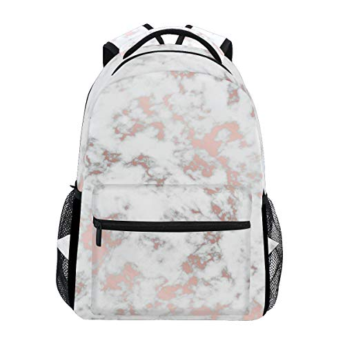 WXLIFE White Marble Rose Gold Backpack Travel School Shoulder Bag for Kids Boys Girls Women Men