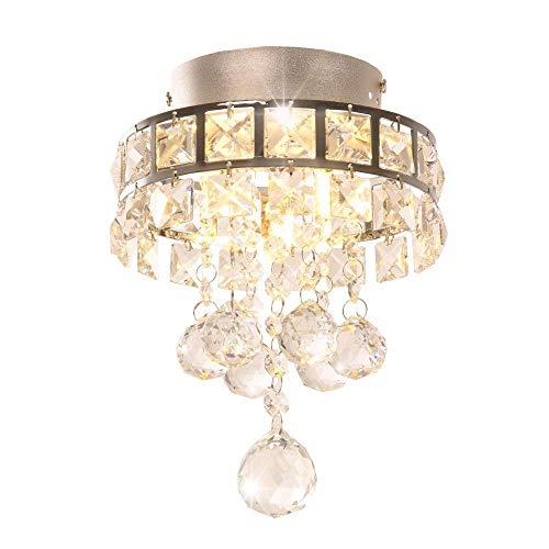 DAXGD Candelabros de cristal, mini lámparas colgantes con 3 luces para pasillo, dormitorio, cocina, cuarto de niños
