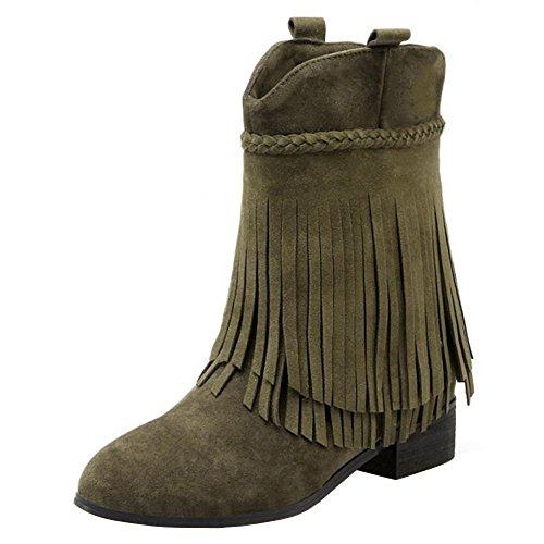 RAZAMAZA Zapatos de Mujer Medio Botas con Flecos Botines