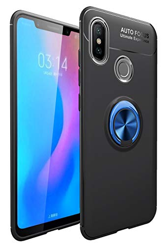 """Capa Honor 8X Max, YINCANG [suporte de anel de metal] TPU de silicone macio [compatível com placa de metal de sucção magnética criativa] Capa com suporte para Huawei Honor 8X Max 7,2"""" preto + azul"""