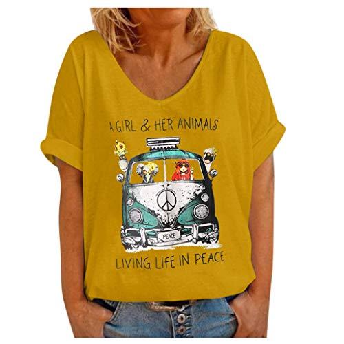 UOCUFY Damen Tops Oberteil Sommer T-Shirt Kurzarmshirt V-Ausschnitt Lässige Stretch Falten Bluse Baumwollshirt Blickdicht Mode für mollige...