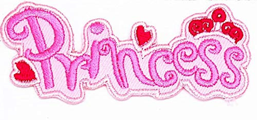 Pink Princess with Hearts and Crown Cartoon Chidren Kids Embroidren Iron Patch/Logo Sew On Patch Clothes Bag T-Shirt Jeans Biker Badge Applique