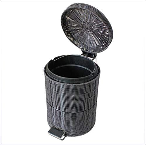YAMEIJIA Ronde Vat Rotan Rieten Afval Mand Met Deksel/Huishoudelijke Vuilnisbak Verwijderbare Liner/Voet Pedaal Afval Bin,5L
