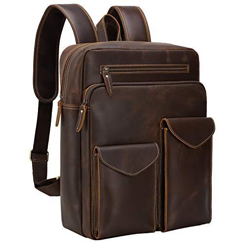 Mochila vintage de cuero para hombre con funda para portátil de 14 pulgadas, mochila de viaje escolar y bolsa de hombro (marrón)