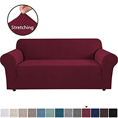 H.VERSAILTEX Stretch Sofa Covers Couch Cover Furniture Protector Sofa Slipcover 1-Piece Feature High Spandex Textured Lycra Small Checks Jacquard Fabric with Elastic Bottom