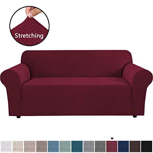 Stretch Sofa Covers Couch Cover Furniture Protector Sofa Slipcover 1-Piece Feature High Spandex Textured Lycra Small Checks Jacquard Fabric with Elastic Bottom(Sofa 72'-96' Wide: Burgundy)