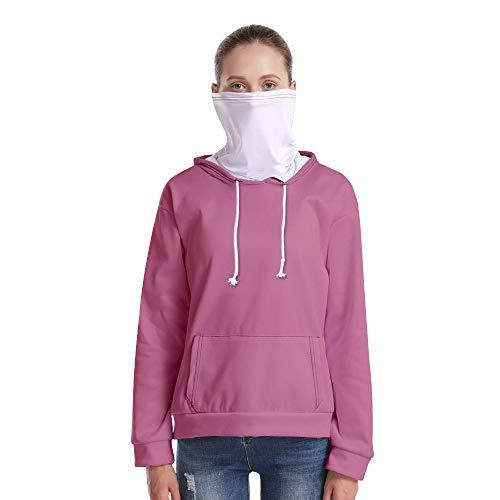 T-Shirt À Manches Longues,Casual Long Sleeve Lâche Rose Massif Unisex Hooded Pull Tops Chemisier Chemise avec Écharpe Hommes Hommes Automne Hiver Pullover Sweatshirt, 4XL