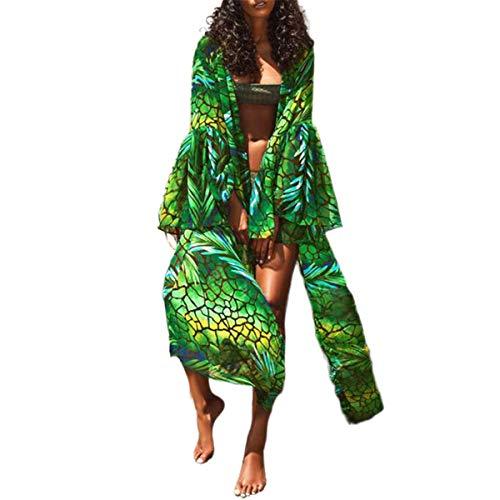 Pareo de Bikini para Mujer Cover Up para Playa Estampado Palmas Cárdigan Largo Mangas Largas Estilo Bohemio Bata Kimono Mujer Playa para Verano (Verde, S)