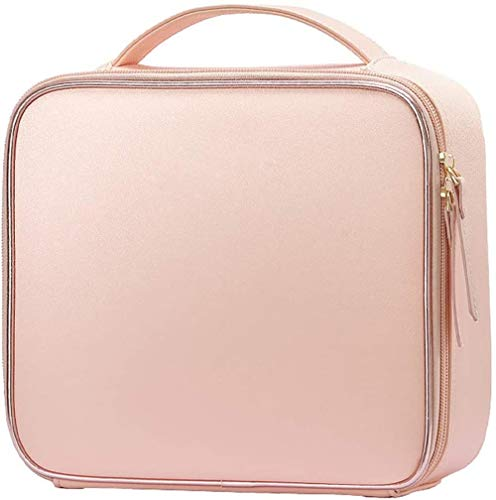 BWM Leather Makeup Bag Cosmetic Case Travel Beauty Box Hairdressing Tools Organiser Storage Box Make Up Train Case with Removable Compartment,Baby Pink