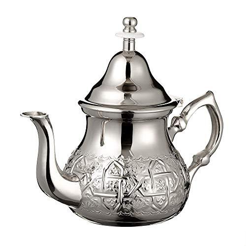 Tetera Marroquí en Plata Maillechort con Filtro Integrado y Manopla Auténtica Tradicional Modelo Grabado con Diseño Clásico Arabe Hecho a Mano Mediano (Aproximadamente 500 ml 5 vasos)