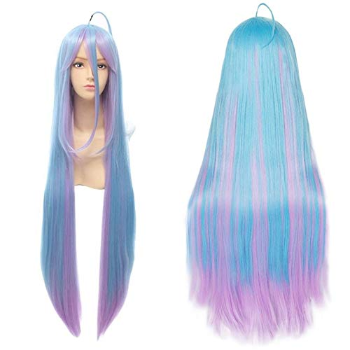 For Anime No Game No Life Shiro Cosplay Wig with Fringe Ombre Mixed Color Blue Pink Long Ponytail Straight Synthetic Full Hair Wigs for Women Girls Halloween Party Costume