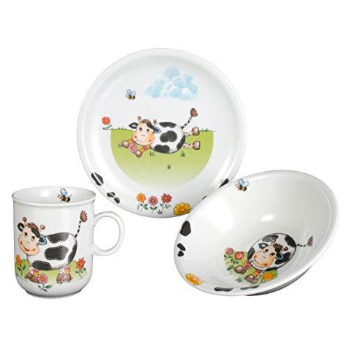 Seltmann Weiden Compact Kühe Kindergeschirr, Porzellan, Mehrfarbig, 21 x 19 x 20 cm