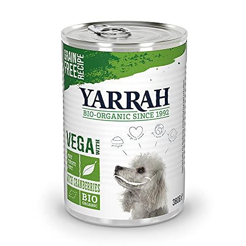 YARRAH cibo umido bio per i cani di tutte le razze ed età I Squisito paté biologico in lattina ipoallergenico con cramberries, 12 x 380gr I 100% biologico, senza frumento e senza additivi artificiali
