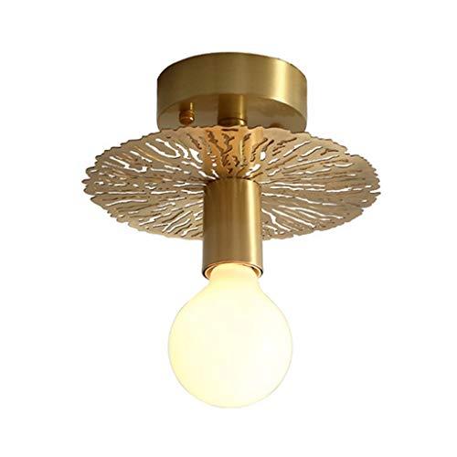 Goldene Deckenleuchte,Deckenleuchte Foggia, runde Deckenlampe mit Lampenschirm aus Stoff in Gold/Weiß, Ø 20 cm, LED-fähig,40 Watt, Retro-Design (Color : Brass-B)