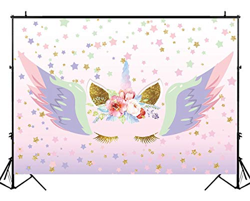 Funnytree 7X5ft Unicorn Photography Backdrop Watercolor Graffiti Coloful Wings Gold Stars Background Pink Flowers Sweet 16 Banner Princesse Newborn Baby Girl Birthday Party Photo Booth Props