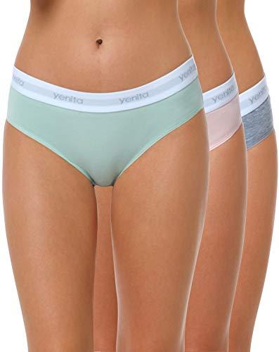 Yenita 3er Set Damen Underwear Modern-Sports-Collection, Hüftslip, Gemischt (Pink/Mint/Grau), Gr. XL