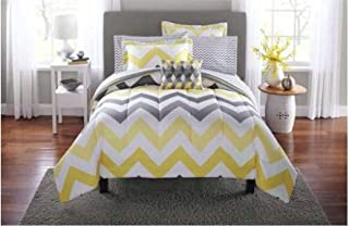Mainstay* Bold and Fresh look 6-Piece Yellow Grey Chevron Bed in a Bag Bedding Comforter Set, (Full)